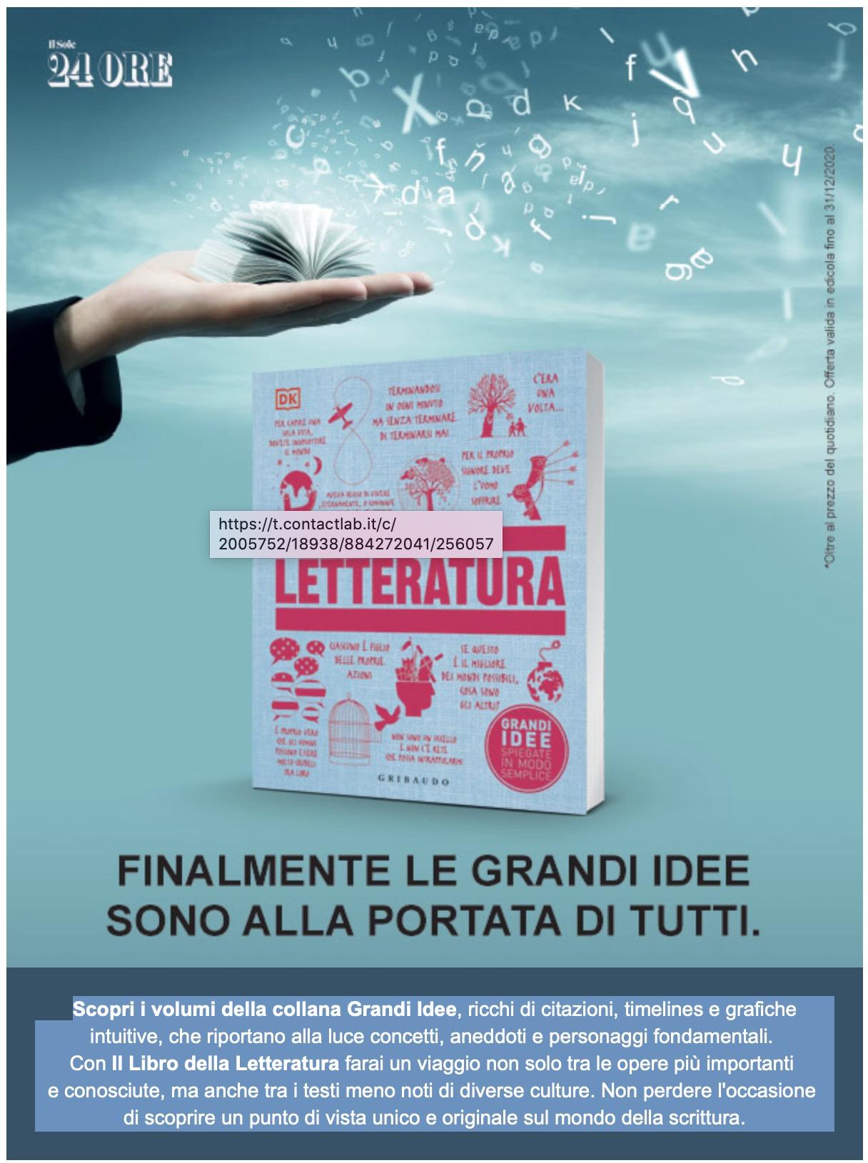 FINALMENTE LE GRANDI IDEE SONO ALLA PORTATA DI TUTTI. Dal 1 dicembre in edicola il libro Grandi Idee LETTERATURA